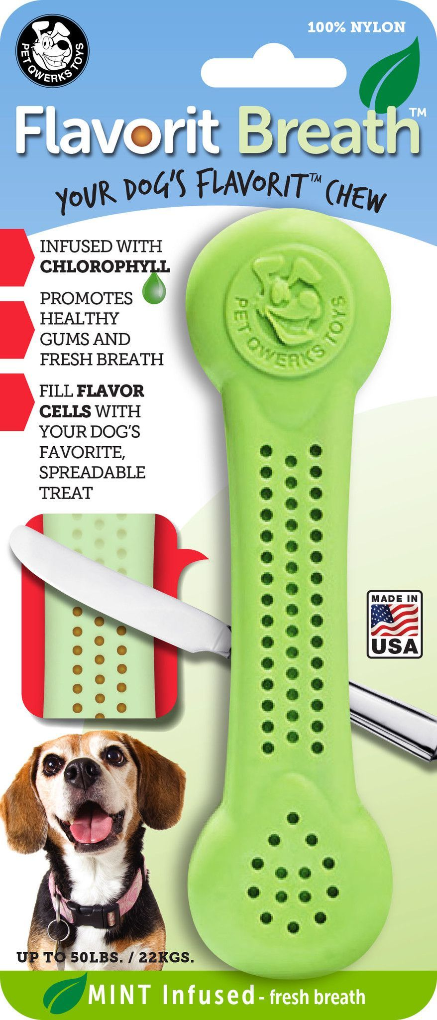 Flavorit Breath Bone Mint Infused Dog Chew Toy Made In Usa Dog