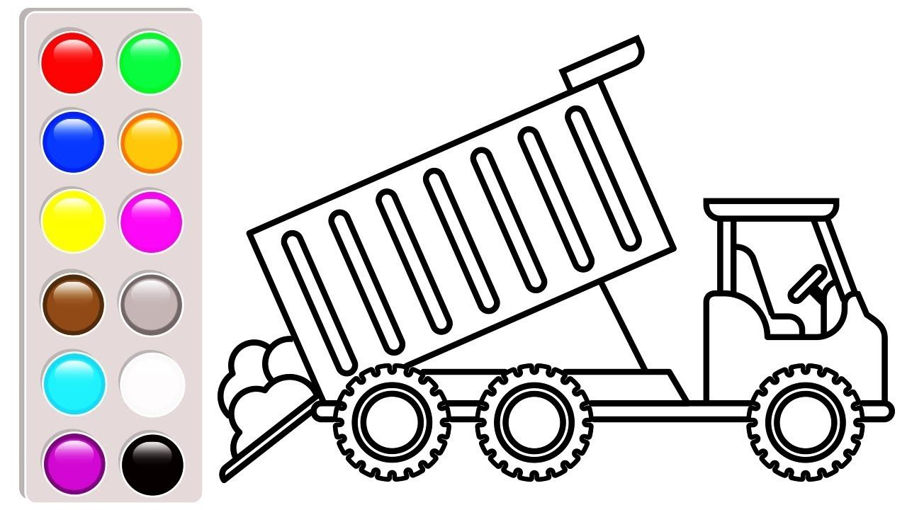 Dump Truck Colouring Pages Construction Vehicles Book Video F