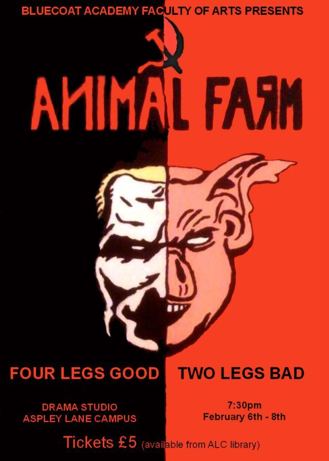 Animal Farm Poster Showing Half A Human Head And Half A Pigs Head Joined In The Middle Animal Farm Book Animal Farm George Orwell Farm Animals