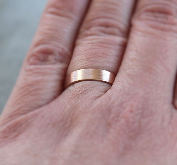 Rose Gold Wedding Band 4mm Flat Recycled Gold Ring 14k Rose Gold