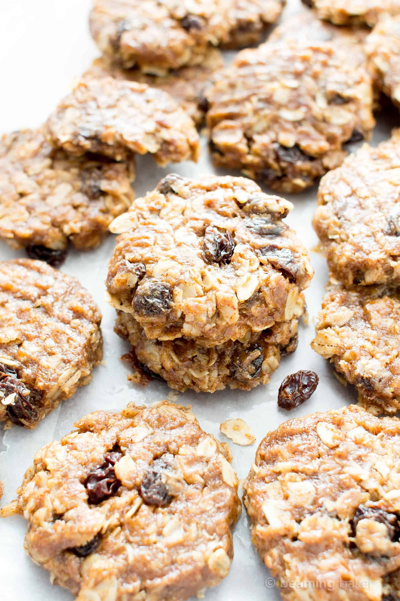 4 Ingredient No Bake Chewy Oatmeal Raisin Cookies V Gf An Easy