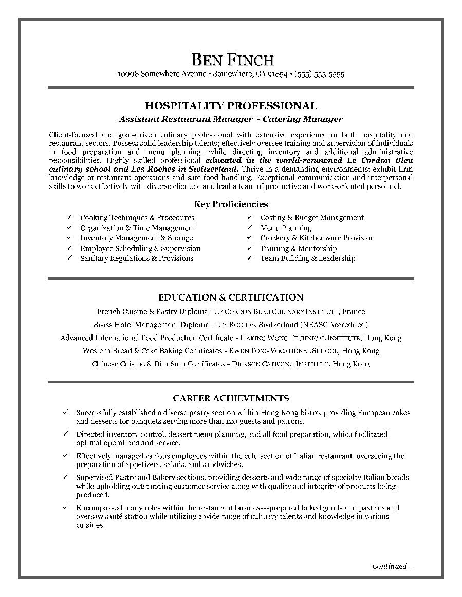 Hospitality Resume Writing Example Httpresumecareerfo