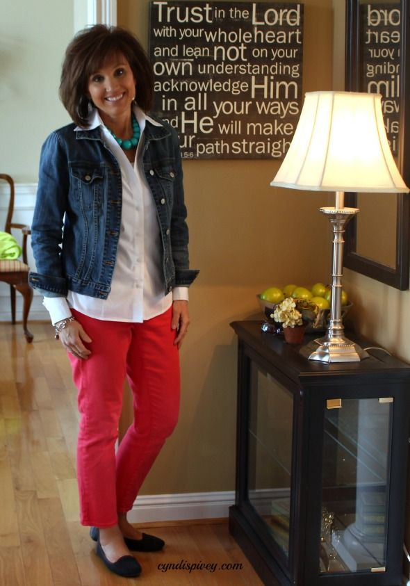 Colored jeans, classic white shirt, denim jacket, classic appeal, styled ease...What I Wore-My Style Archives - Walking in Grace and Beauty