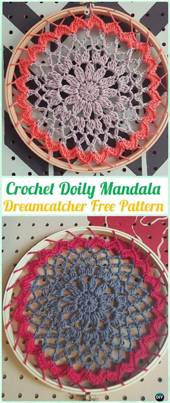 Crochet Doily Mandala DreamCatcher Free Patterns - Crochet Dream ...