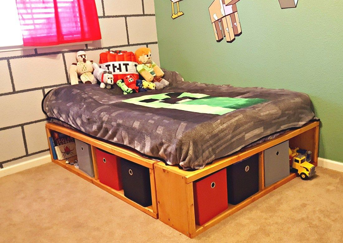 Diy Full Size Bed Frame With Storage With Images Diy Full Size