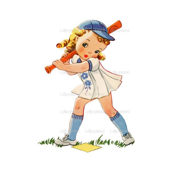 Softball little girl. Instant download batter up