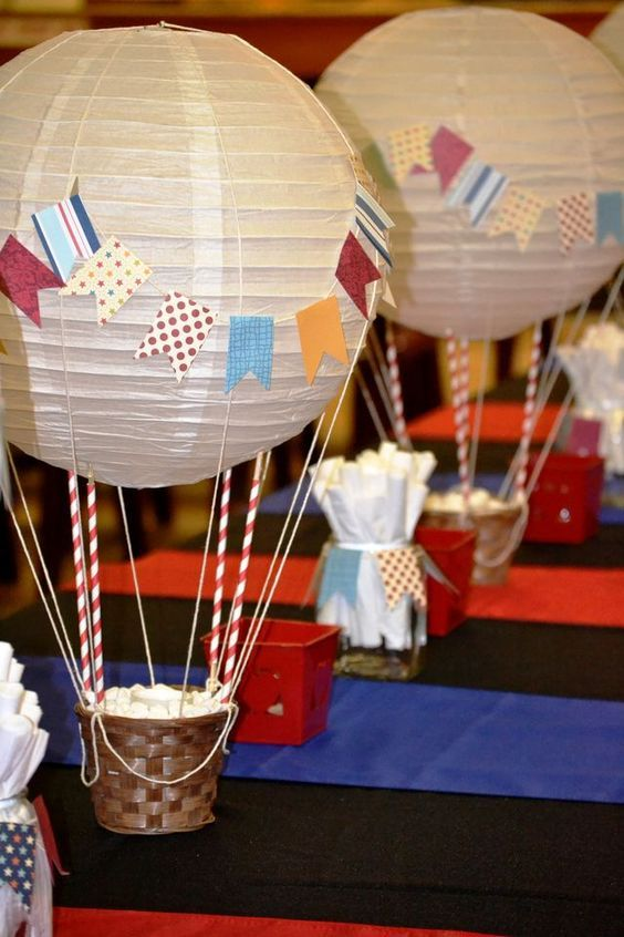 pin by radha maheshwari on diy and crafts pinterest balloons rh pinterest com  how to make a hot air balloon centerpiece for a baby shower