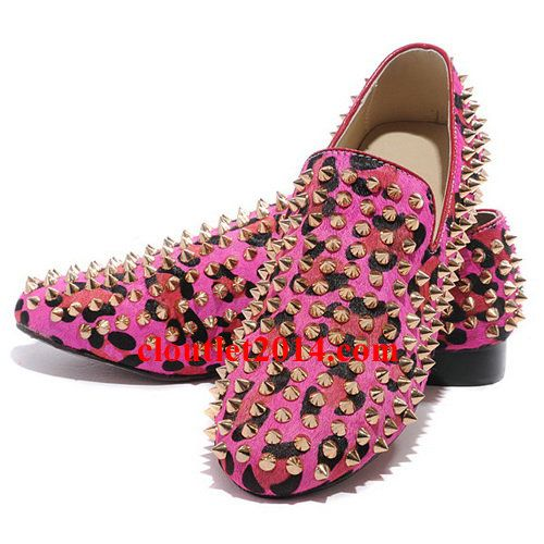 Discount Christian Louboutin Rollerboy Spikes Flats Leopard Red