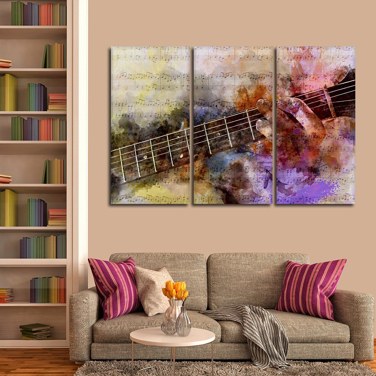 Guitar solo multi panel canvas wall art in 2020 music