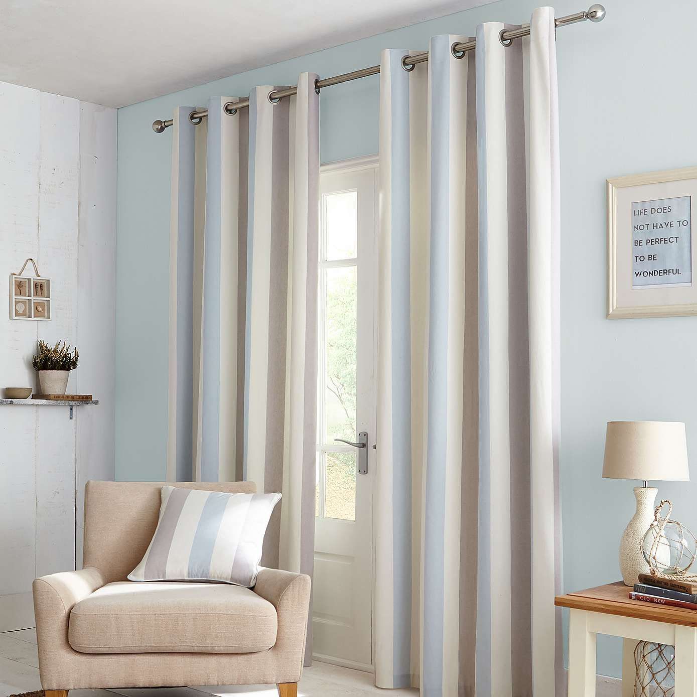 Duck Egg Falmouth Lined Eyelet Curtains