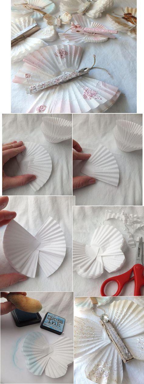 schmetterlinge aus muffinf rmchen karten basteln schmetterlinge basteln und bastelei. Black Bedroom Furniture Sets. Home Design Ideas