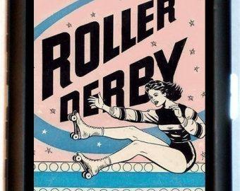 Roller Derby Retro Design Roller Skating Skater Jammer Pivot Cigarette Case or ID Holder or Business Card Case Wallet or MP3 Holder