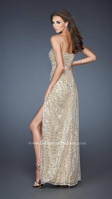 La femme gold cocktail dress