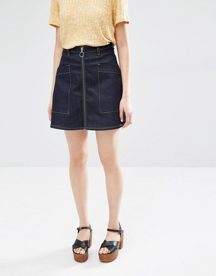 Image 4 of Monki High Waisted A-Line Zip Up Denim Skirt | like ...