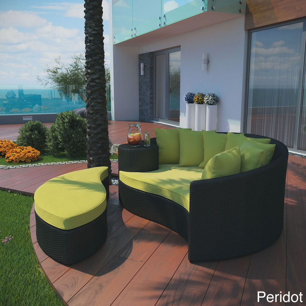Outdoor Patio Furniture Daybed Ottoman Green Cushions Wicker Sofa Lounge Pool Lexmod Outdoor Daybed Patio Daybed Daybed Sets