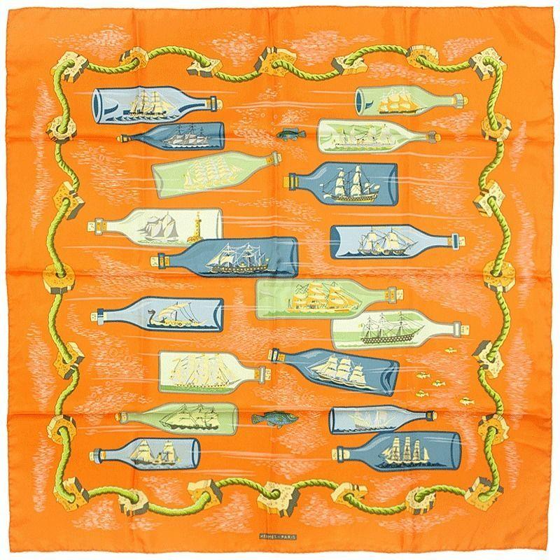 1baa36154f88 Auth Hermes Paris BOUTEILLES A LA MER Silk Scarf Foulard PIERRE PERON 90cm   Hermes