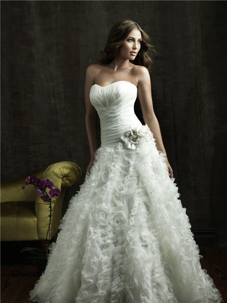 ball gown strapless organza floral wedding dress with corset back ...