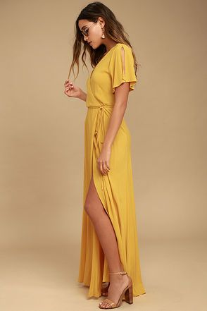 1604c2b393525 LULUS Much Obliged Golden Yellow Wrap Maxi Dress | D R E S S E S ...