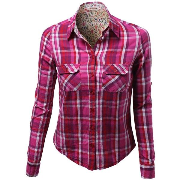Awesome21 Women's Long Sleeve Checkered Button Down Plaid Shirt Top... ($24) ❤ liked on Polyvore featuring tops, blouses, purple blouse, long sleeve plaid shirts, button-down shirts, button up shirts и plaid shirt
