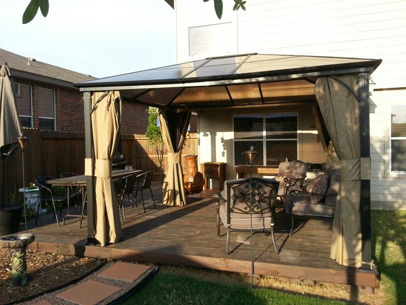Hard top steel gazebo on deck my yard pinterest for Deck with gazebo
