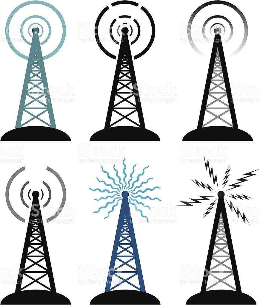 Vector Design Of Radio Tower Symbols Free Vector Art Vector Free Radio