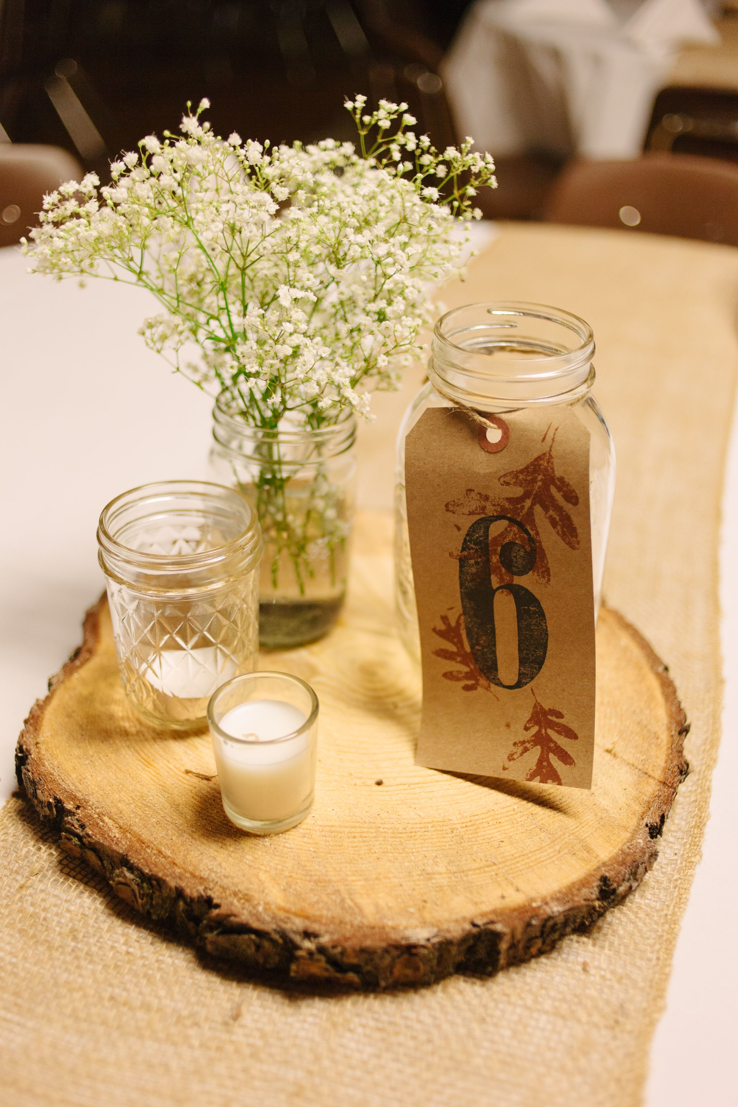 Rustic fall wedding table centerpieces for anna for Fall centerpieces for round tables