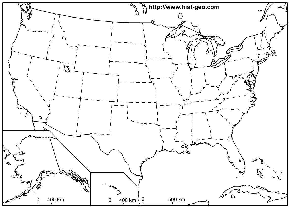 Outline Map Of The 50 Us States Social Studies Geography Lessons - Us-map-of-the-50-states
