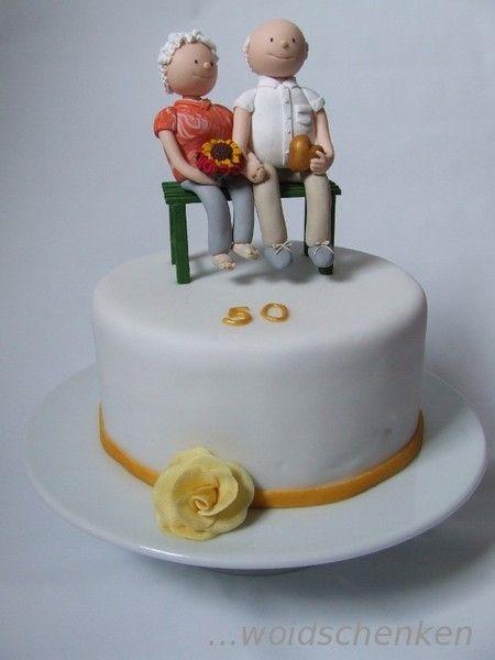 Torte Goldene Hochzeit Mit Tortenfiguren Motivtorten