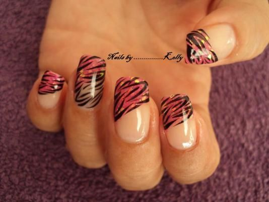 Tiger Striped - Nail Designs 2012 Trends Nail Designs   tips, diagonal, french, animal print