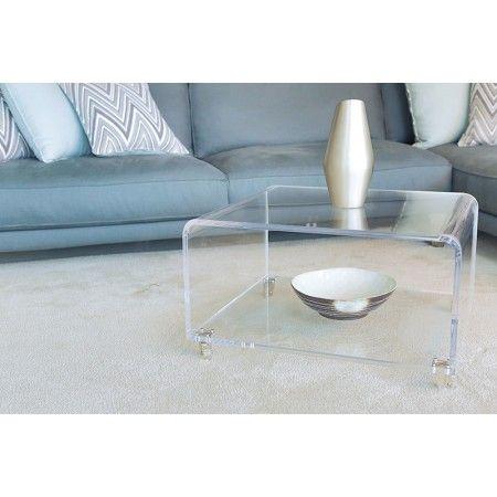 Tavolini Da Salotto In Cristallo Con Ruote.Tavolo Ponte Salotto 70x60 H 45 In Plexiglass Trasparente