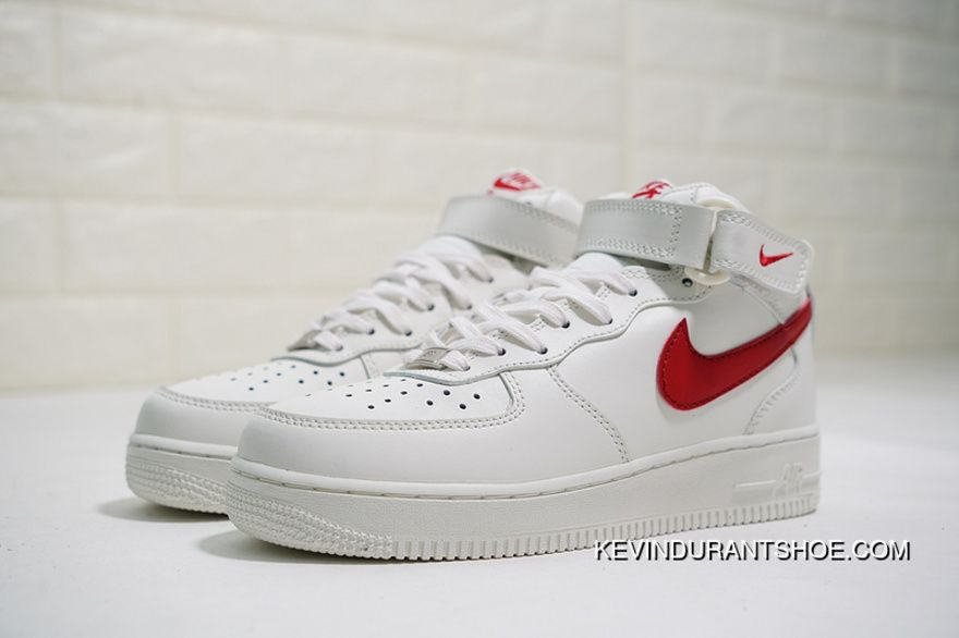 Classic Replenishment Women Shoes And Men Shoes Full Grain Leather System Nike  Air Force One Mid 07 Mid Top Classic Leather Sneakers Campus Milk White Red  ... 1be63044f2