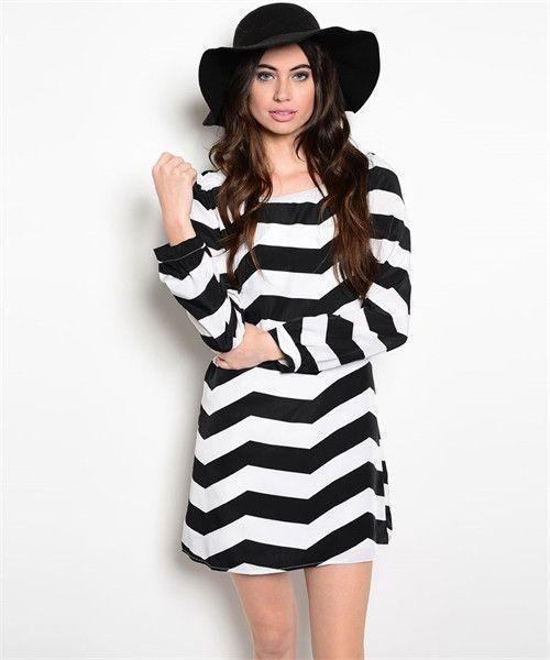 Black and white chevron dress long sleeve