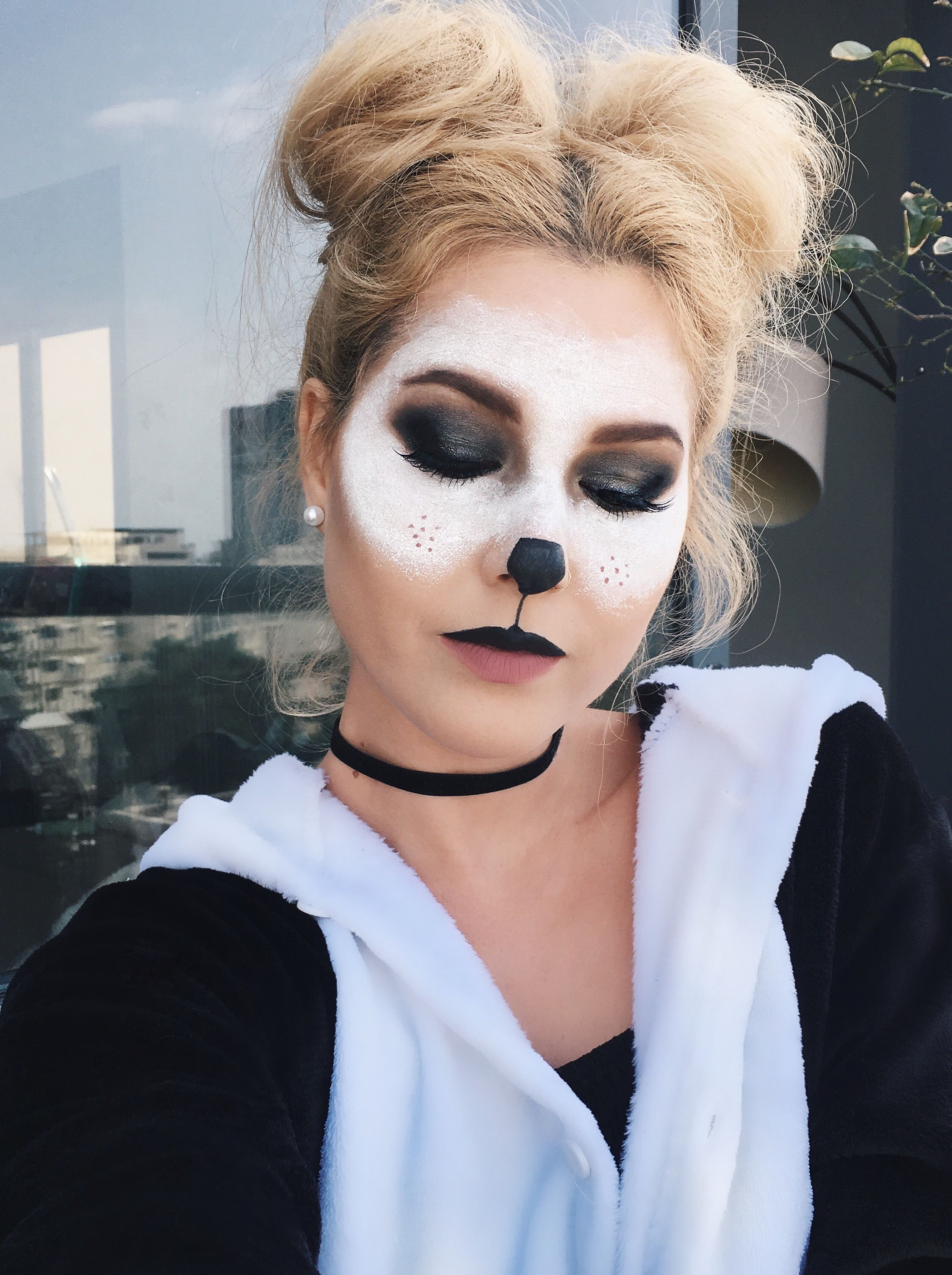Panda Halloween Costume Make Up #girl #halloween #costume #makeup Onesie Holiday Hairstyle ...