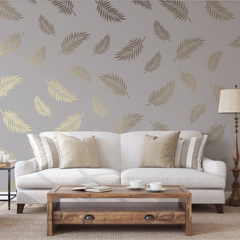 Palm Leaves Pattern Wall Stencil Create A Stunning Wall Stencil Design Durable Reusable Stencils For Painting Walls In 2021 Wall Texture Design Wall Painting Living Room Wall Stencil Designs