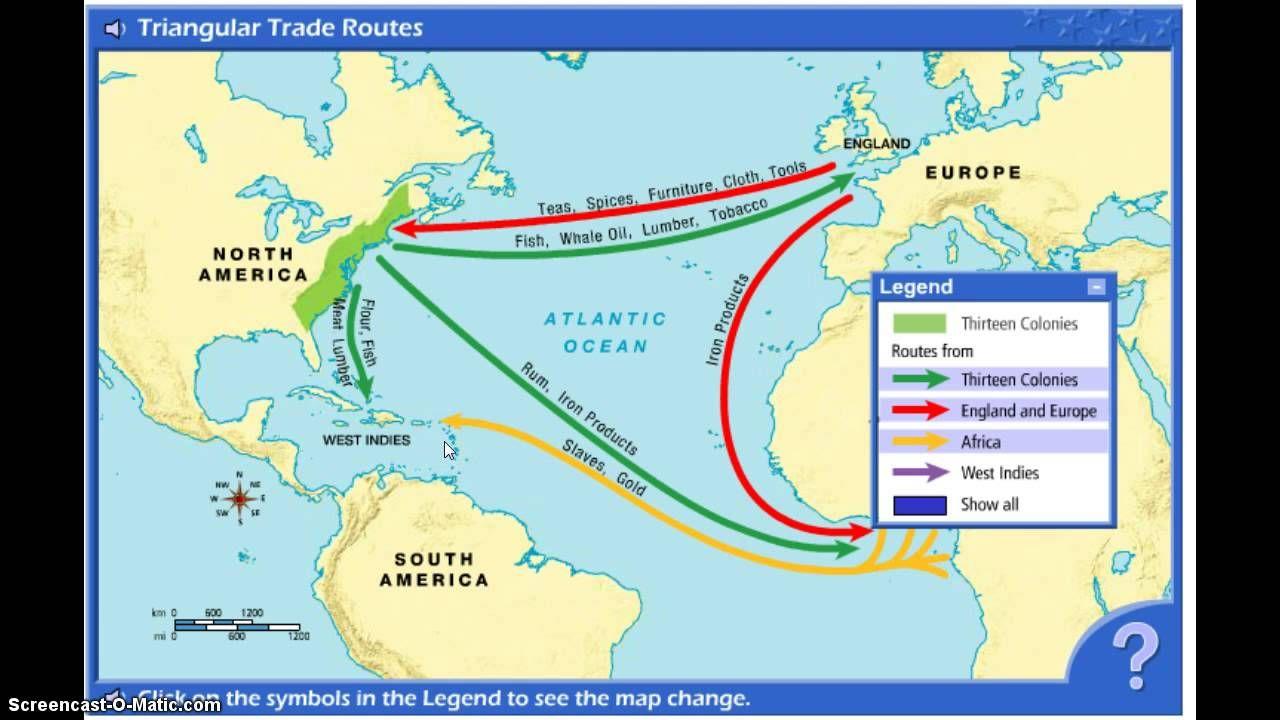 Triangular Trade Youtube Triangular Map Worksheets Middle Passage