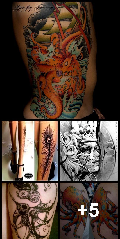 Photo of Tattoo mit schwarzer Spitze und Tintenfisch am Bein – Tätowierung mit schwarzer Spitze und Tintenfisch am Bein, # …