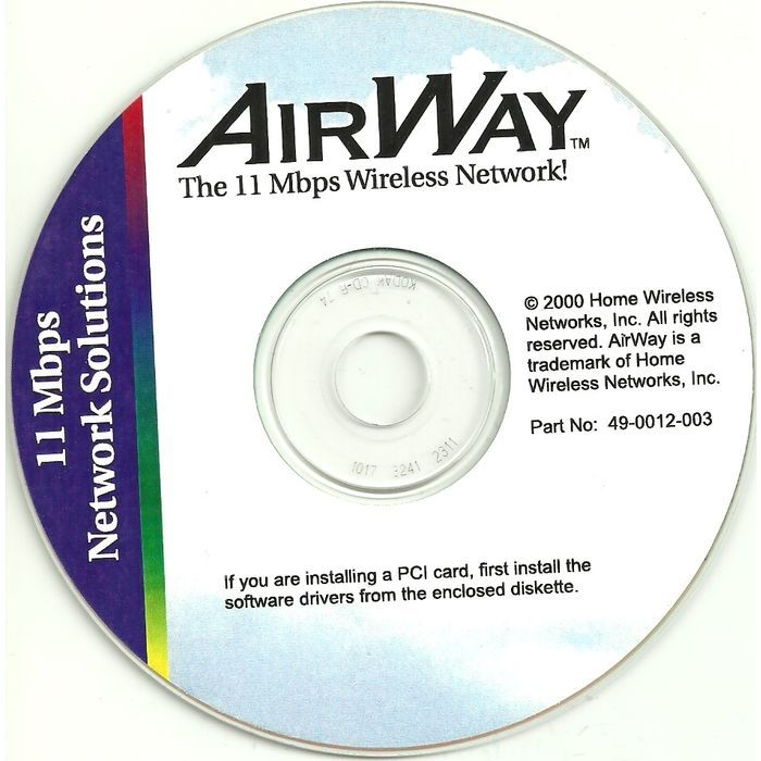 Computer Software CD AirWay 11 MBPS Wireless Network For PCMCIA Card 49 0012 003