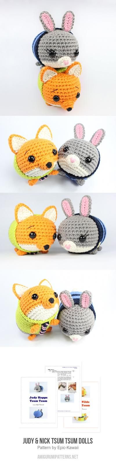 Judy & Nick Tsum Tsum Dolls amigurumi pattern by Epic Kawaii ...