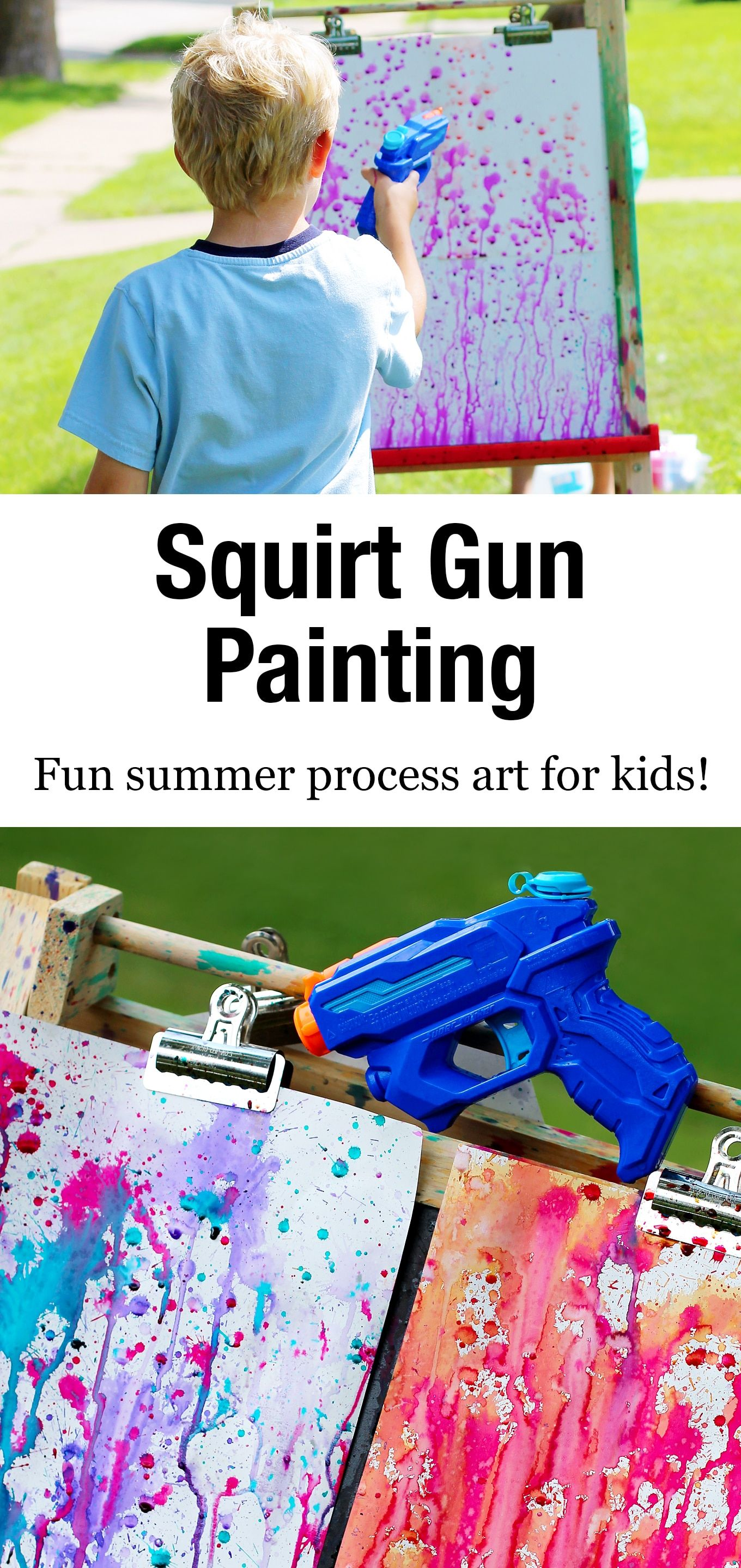 Bust summer boredom at home, school, or camp with Squirt Gun Painting, an amazing art experience for kids of all ages. #squirtgunpainting #squirtpainting #summerart #summerartforkids #summercrafts #watercolorart #kidsart #squirtgunpainting #watergunpainting #summer #kidscrafts via @firefliesandmudpies