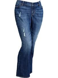 Women's Plus Distressed Boot-Cut Jeans