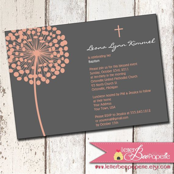 Single Blossom Custom Boy Girl Twin Baptism Invitation - Christening - sample baptismal invitation for twins