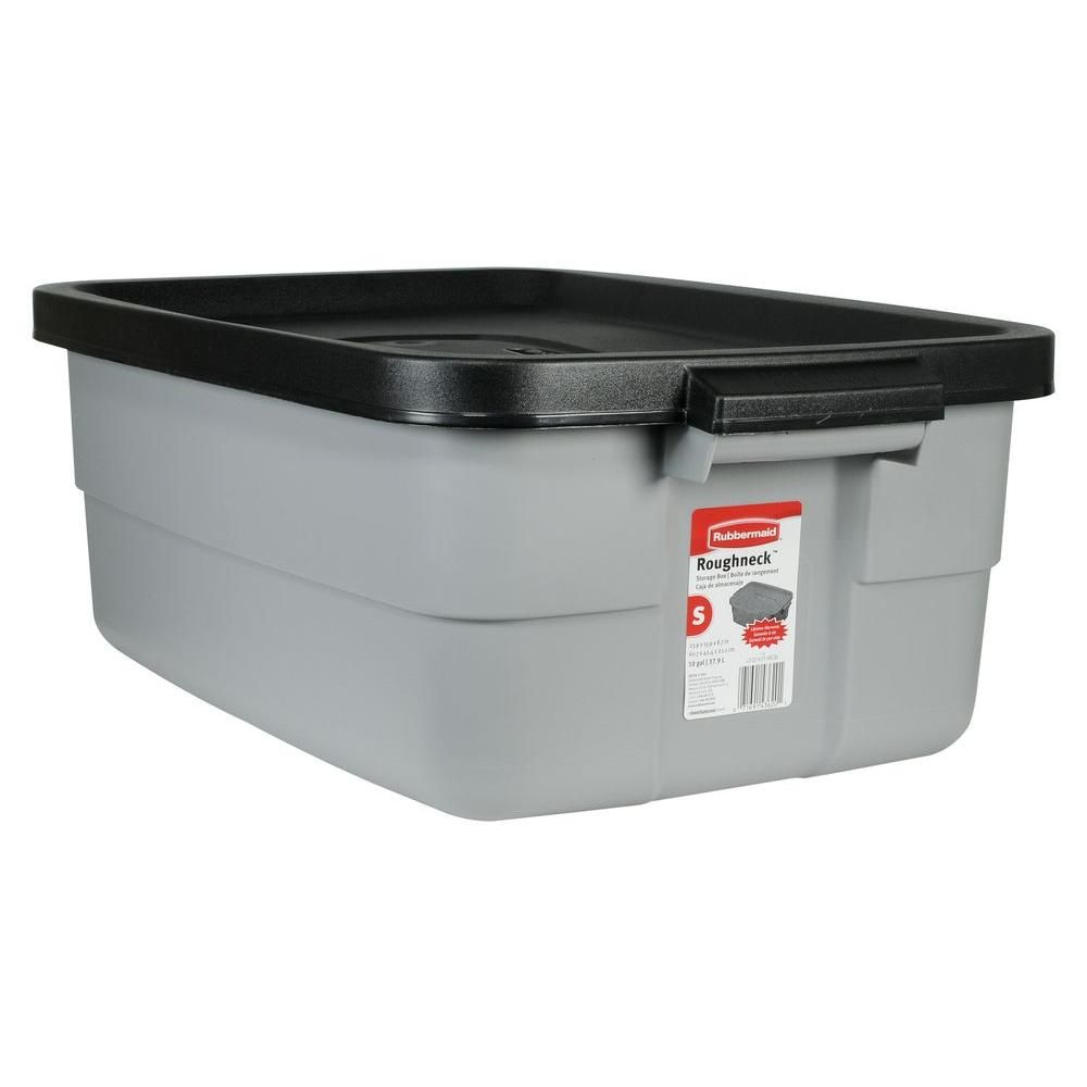 Rubbermaid 10 Gal Roughneck Tote Fg2214tpmicbl The Home Depot Rubbermaid Storage Bins Rubbermaid Storage Tote Storage