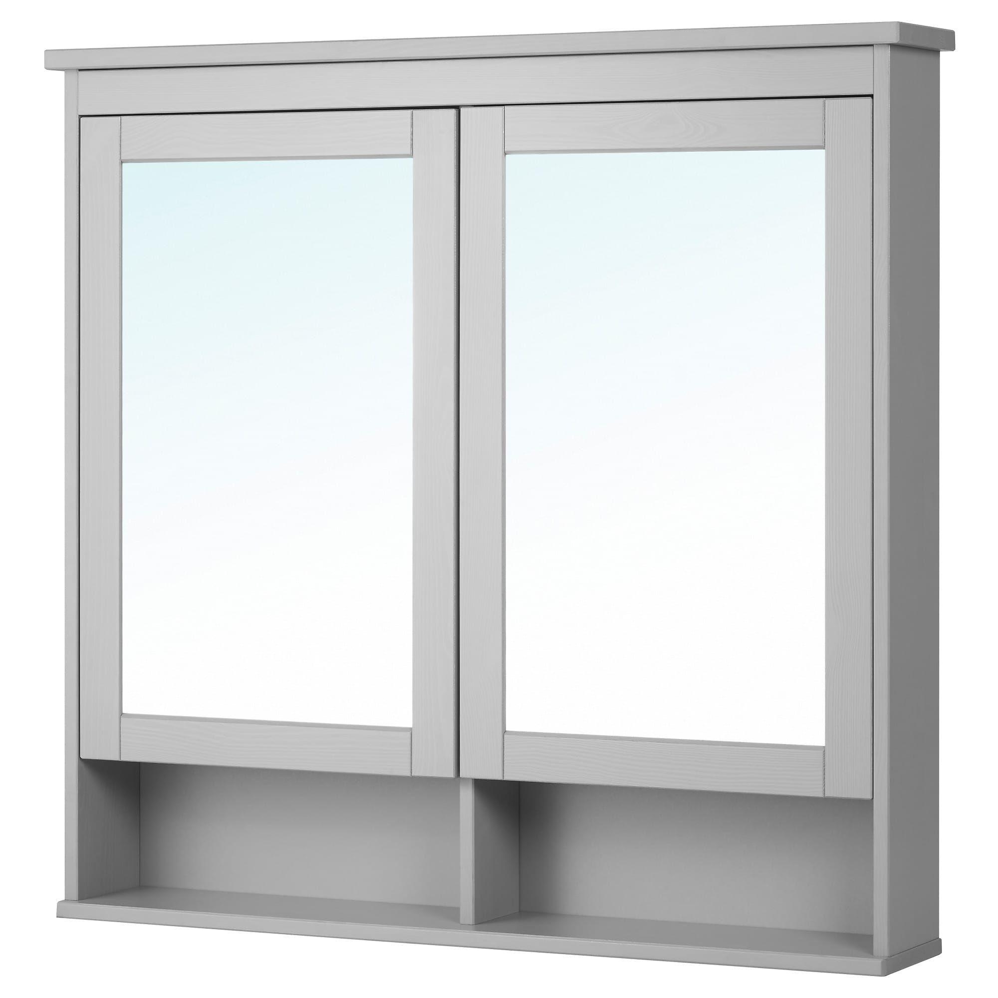Hemnes Spiegelschrank 2 Turen Grau Ikea Deutschland Mit