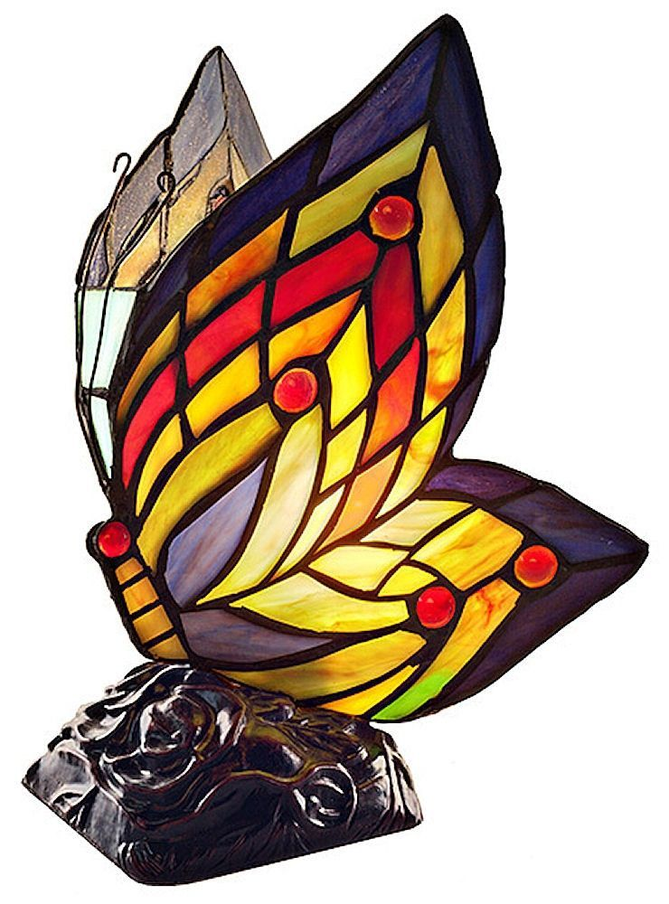 The Butterfly Wings Stained Glass Accent Lamp will make a charming addition to any decor. Perfect gift for the butterfly collector. Floral arrangement shown not included. Natural variations in art gla