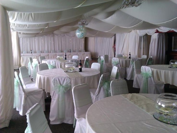 White Chair Covers and Pale Mint Green Sash