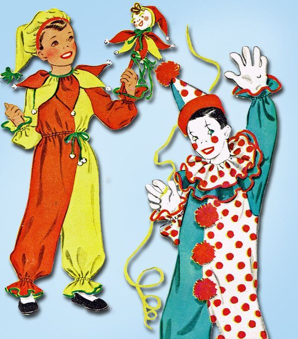 1940s Vintage Kids Halloween Clown Costume 1949 McCall Sewing ...