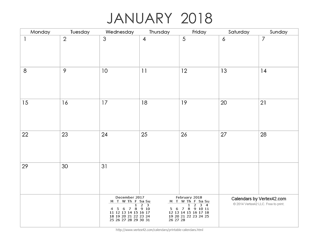 Download A Free Printable Ink Saver Calendar From Vertex42