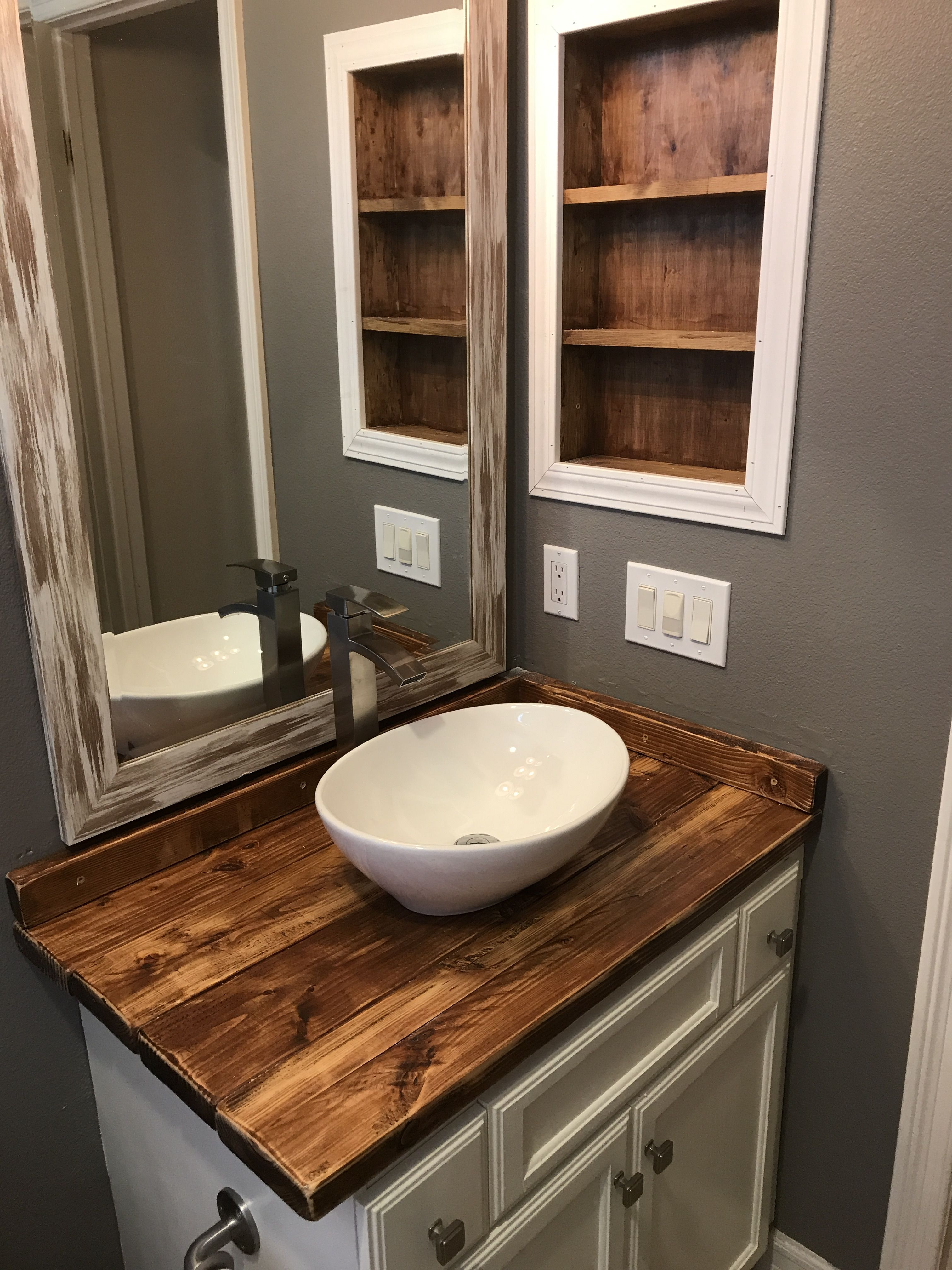 Diy Rustic Wood Countertop And Vessel Sink Bathroom Makeover