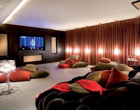 Home Theater Room Walls Covered In Curtains Side Dimmed