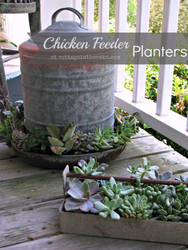 Chicken feeder planters unique flower pots the old for Old chicken feeder ideas